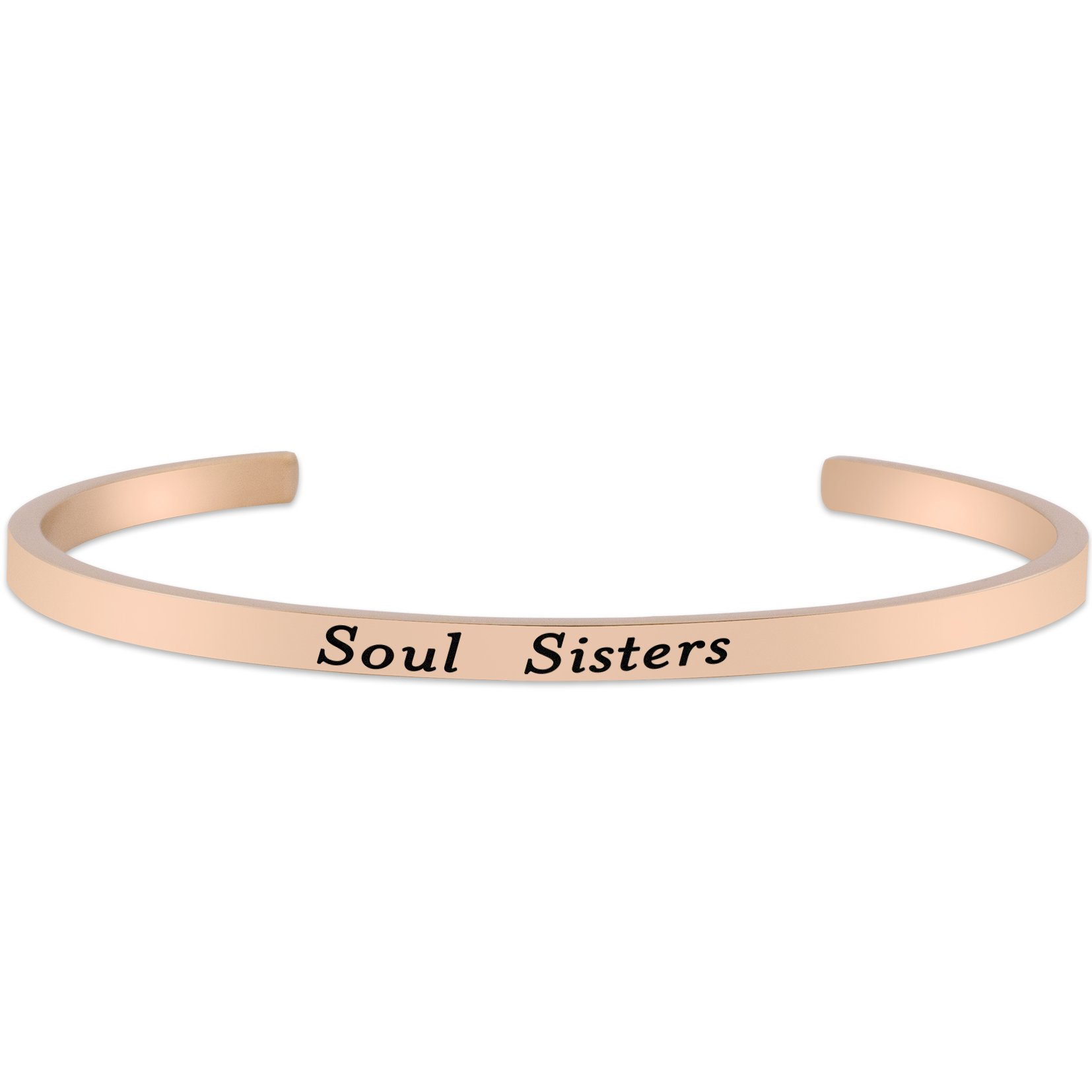 Lademayh Soul Sisters Friendship Bracelet Stainless Steel Inspirational Mantra Bracelets for Sister, Rose Gold Personalized Bracelets Jewelry