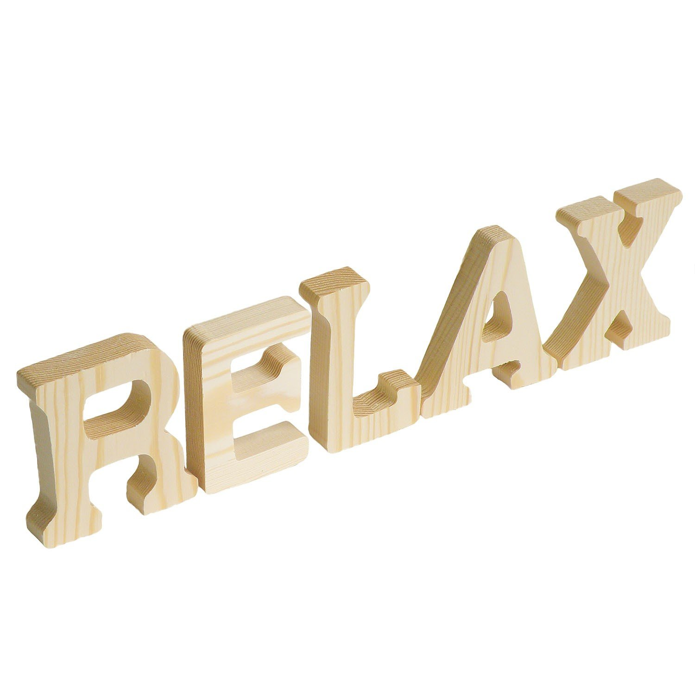 wei/ß maDDma /® Schriftzug Relax 3D Holzbuchstaben 8 cm