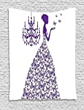XHFITCLtd Love Decor Wall Hanging Tapestry, Country Wedding Artwork Prints Butterflies Princess Retro Chic Girls Teens Bachelorette Party, Bedroom Living Room Dorm Decor, 60 W x 80 L Inches, Purple