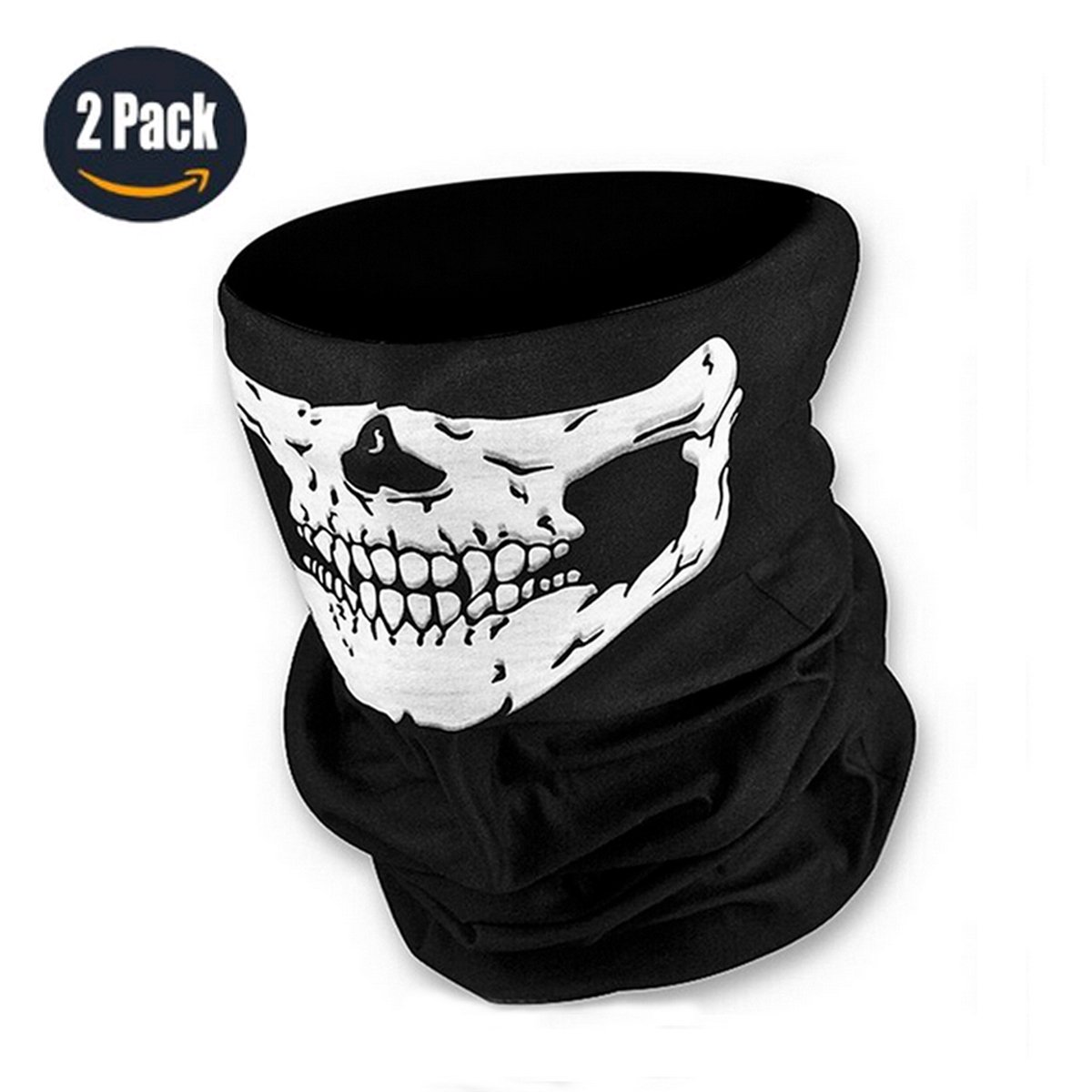 12-in-1 Versatile Skull Ghost Military Motorcycle Half Face Mask Breathable Quick Dry Tactical Balaclava For Out Riding Hunting Warm Neck Gaiter (2 pcak) Walking Man