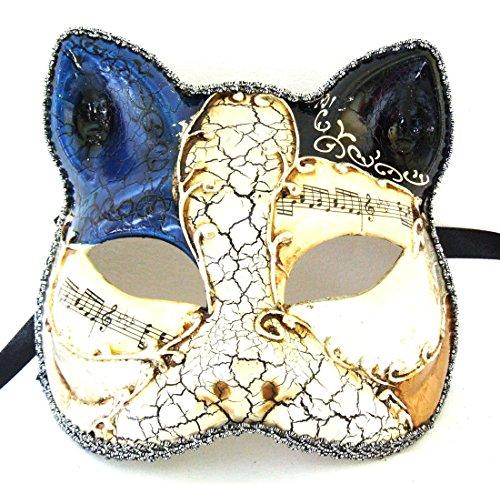 Antique Cat Mask Blue & Black Mardi Gras Mask Venetian Gatto Halloween Costume -