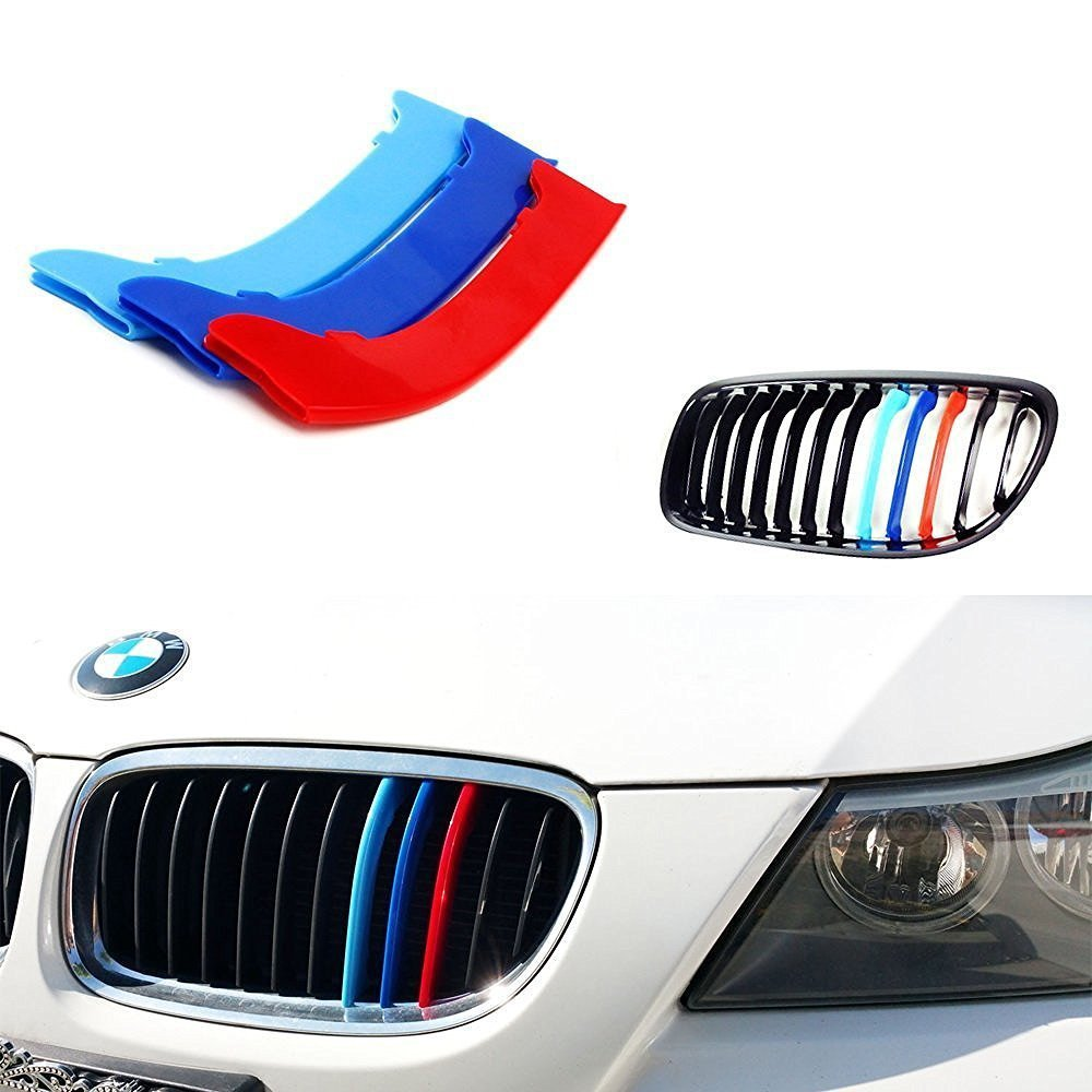 Lanyun BMW M Colors Grille Insert Trims Decorate For F30 F31 3 Series 320i 328d 328i 335i M-Performance Black Kidney Grilles (8 Beams), Not For The 11-Beam Standard Grille nor 4 Series Direct Fit Tri-Color Grille Insert Piece