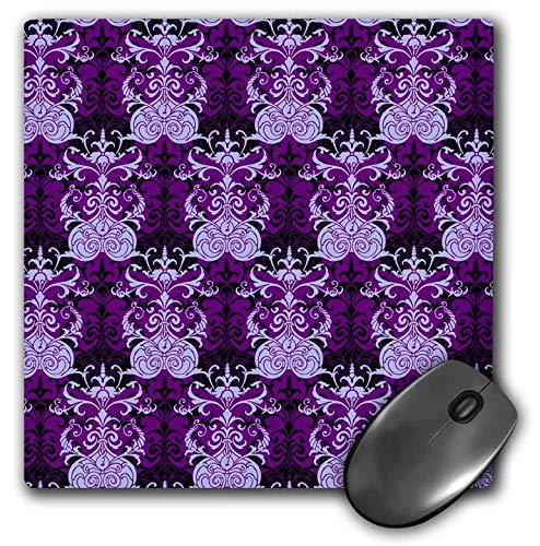 (3dRose Russ Billington Patterns - Damask Pattern in Purple and Black - Mousepad (mp_241040_1))