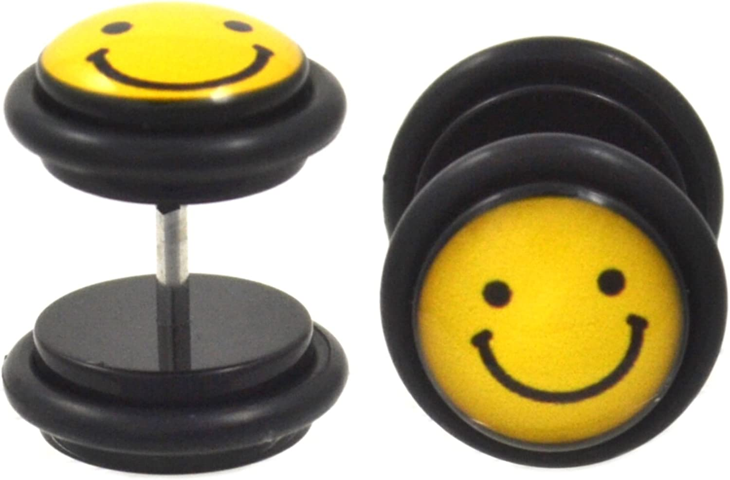 Smiley Face Earrings 12 Different Pairs Yellow Metal Posts Plastic Stoppers