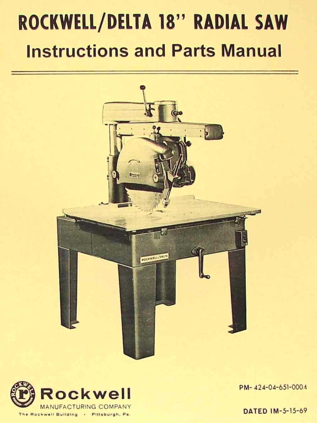 """ROCKWELL-DELTA 18"""" Radial Arm Saw Operator's & Parts Manual: Misc.:  Amazon.com: Books"""