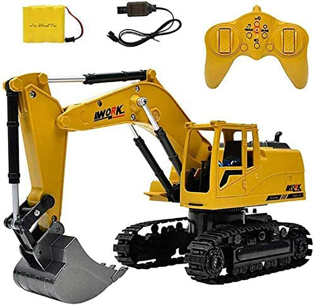 Yangers Camión excavador con Control Remoto, Escala de Juguete Grande 1:24 Excavadora 8 Canales 2,4GHz Radio Control RC construcción vehículo topadora para niños de 4 años o más