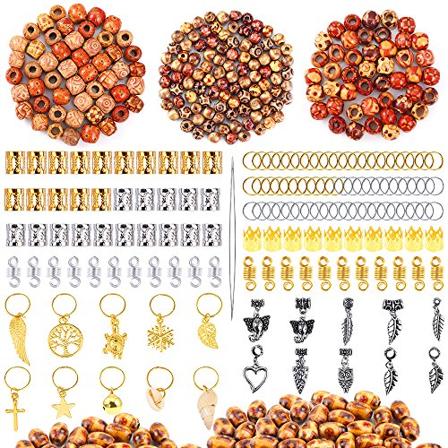 PP OPOUNT 400 Pieces Dreadlocks Beads DIY Hair Braid Accessories with 2 Sizes Big Hole Natural Painted Wood Beads, Braid Rings Hair Hoops, Dreadlocks Beads and Hair Clips for Hair Decoration