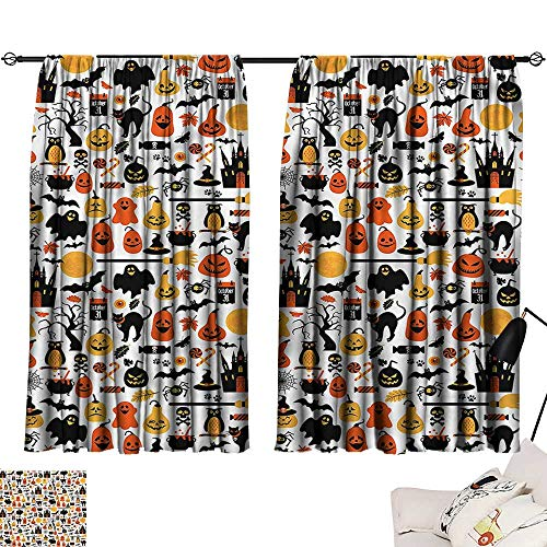Jinguizi Privacy Assured Window Treatment Darkening Curtains Halloween,Candies Owls and Castles,Party Curtain Kids W63 x L45