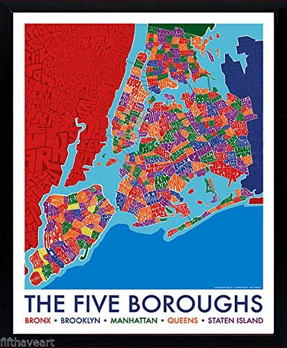 Amazon.com: brooklyn art York City 5 Boroughs Map Poster ...