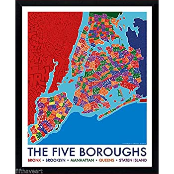 Amazoncom New York City Boroughs Map Poster Framed Print - New york city map with boroughs