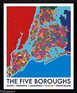 Amazoncom New York City 5 Boroughs Map Poster Framed Print