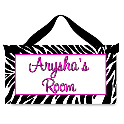 Toad and Lily Girls Bedroom Hot Pink Zebra Print Personalized Name Sign  DOOR SIGN DS0321