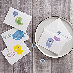 MAGJUCHE Cute Baby Animals Thank You Cards – 32 Blank Note Cards Set – 4 Designs - Thank You Notes with White Envelopes