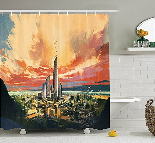 [Apartment Decor Collection New York City Midtown with Empire State Building at Sunset Business Center Rooftop Photo Polyester Fabric Bathroom Shower Curtain Set with Hooks] (Nerd Costumes At Party City)