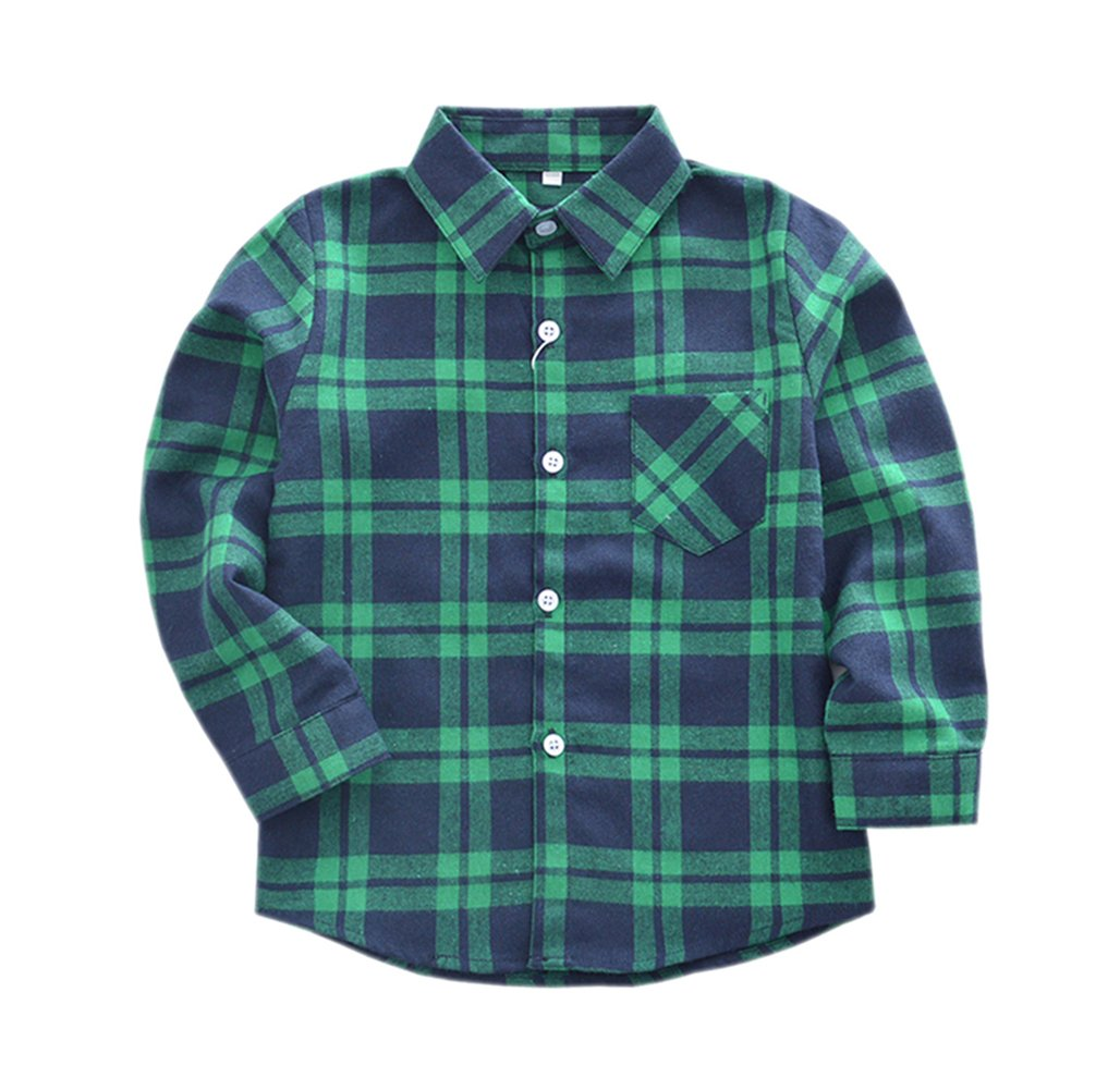 Tortor 1Bacha Little Boys' Long Sleeve Button Down Plaid Flannel Shirt Green Blue 7
