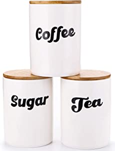Lawei Set of 3 Ceramic Kitchen Canisters with Bamboo Lids - Ceramic Food Jars Storage Containers Set for Sugar, Tea, Coffee