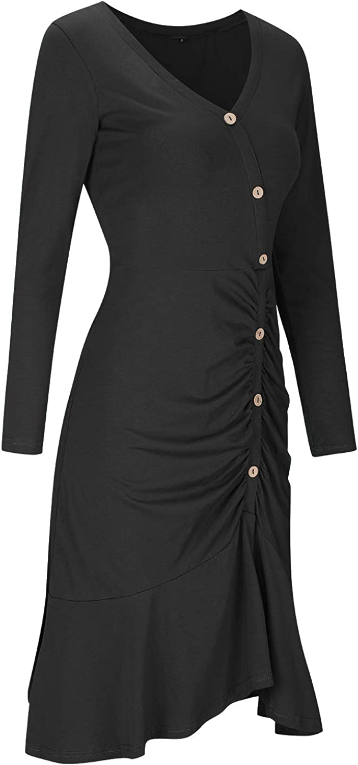 VOTEPRETTY Womens Long Sleeve Button Work Cocktail Party Dress