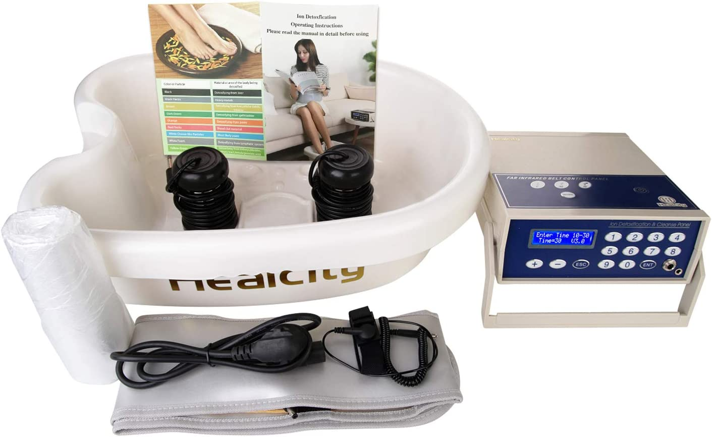 Ionic Foot Bath Detox Machine Holiday Gift Negative Hydrogen System by Healcity with Professional Tub Basin 10 Liners