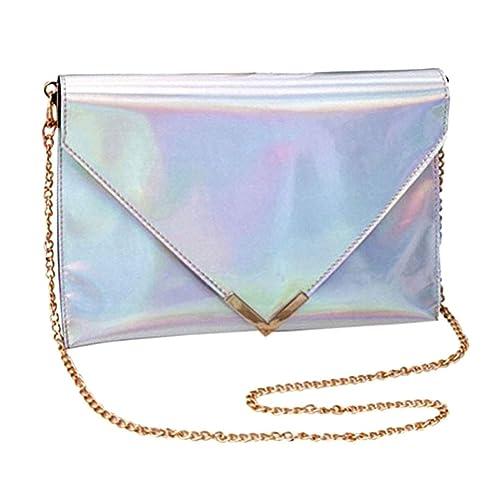 Silver Womens New Fashion Cross Body Hologram Handbag Purse Chain Shoulder Bag