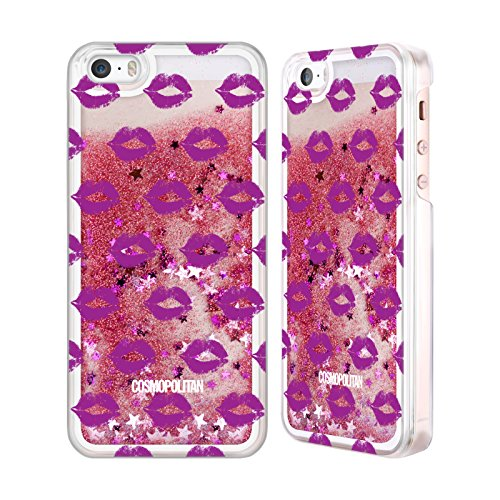Official Cosmopolitan Purple Kiss Mark Pink Liquid Glitter Case Cover for Apple iPhone 5 / 5s / SE