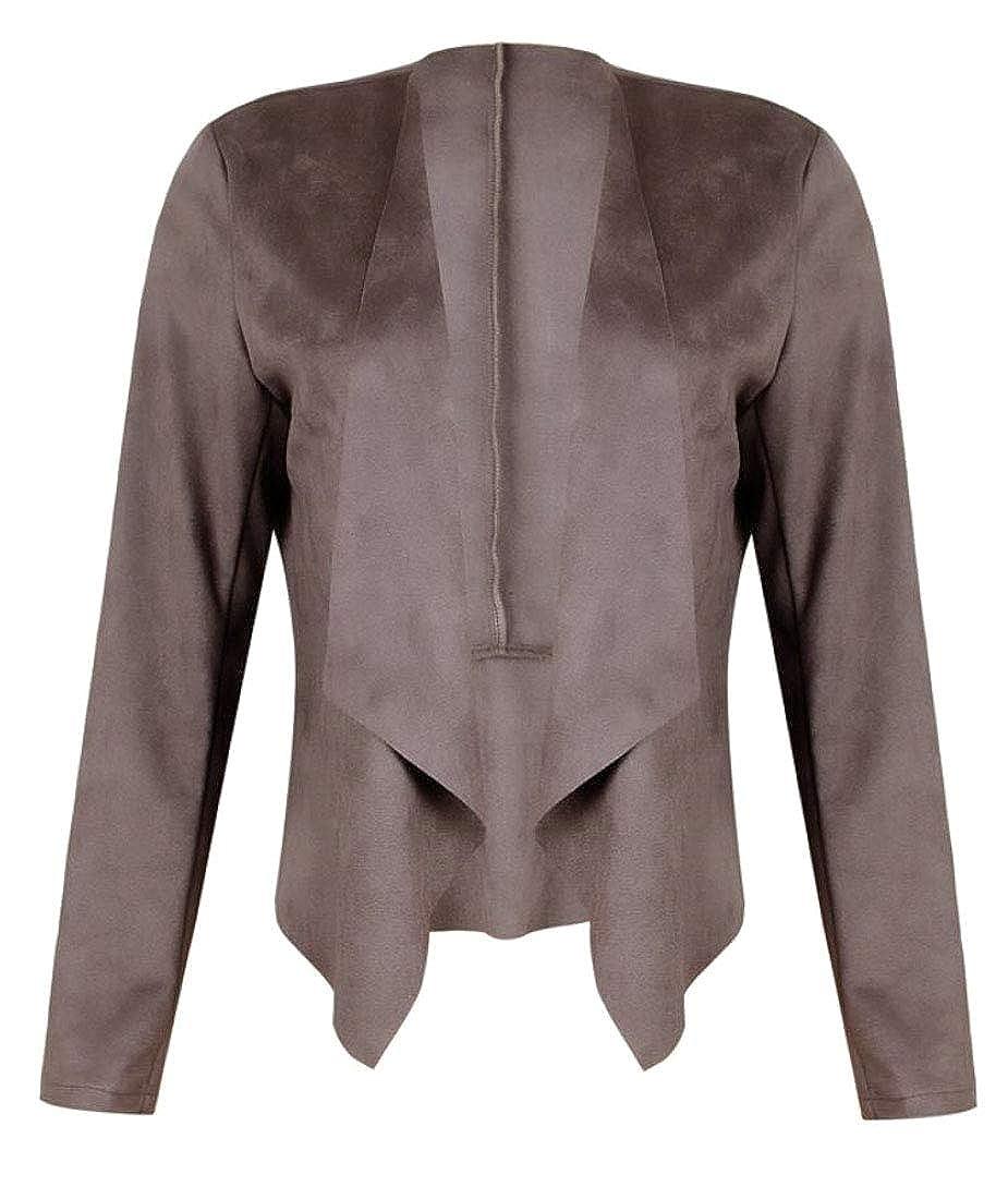 Keaac Women Faux Suede Short Jacket Irregular Drape Lapel Open Front Cardigan