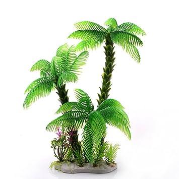 JUZIPI Decoración para Acuario (3 Coco, árboles Verdes y Plantas), Diseño de pecera y pecera: Amazon.es: Productos para mascotas