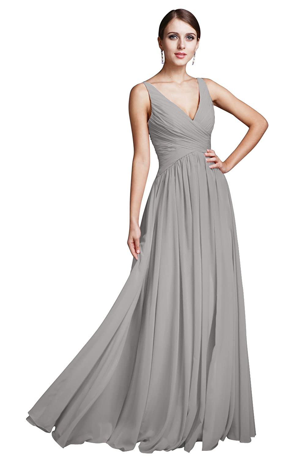 PERSUN Women's A Line V-Neck Prom Dresses Ruched Sleeveless Bridesmaid Dresses