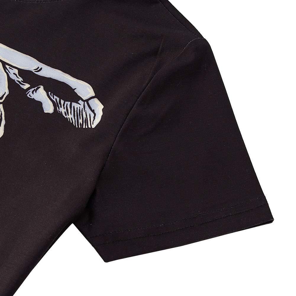 RAISEVERN Children Pumpkin Rib-cage X-Ray Skeleton Halloween Kids T-Shirt Fantasy Short Sleeve
