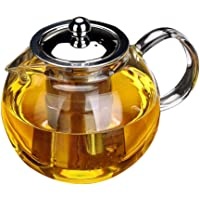 Glass Teapot with Removable Infuser - OBOR Borosilicate Glass Tea Maker with Stainless Steel Strainer and Lid for Blooming and Loose Leaf, Microwave and Stovetop Safe - 950ml
