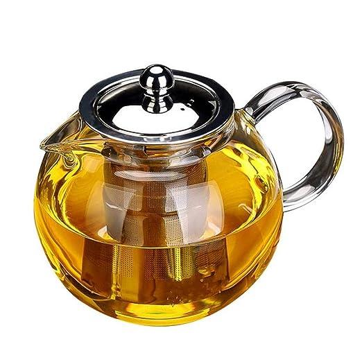 Tetera de cristal con infusor extraíble, para hacer té de vidrio de borosilicato OBOR con colador de acero inoxidable y tapa para flores y hojas ...