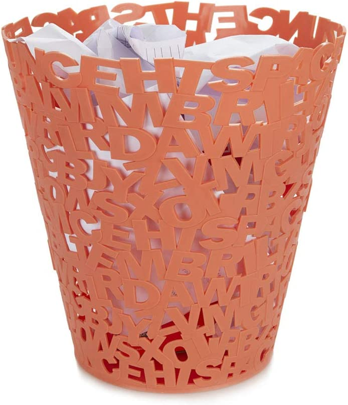 Balvi Wastebasket Letters Salmon colour Original design letter paper Ideal for offices home and school Plastic 30x28,5x28,5 cm