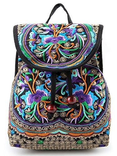 Goodhan Vintage Women Embroidery Ethnic Backpack Travel Handbag Shoulder Bag Mochila (S01: Purple) by Goodhan