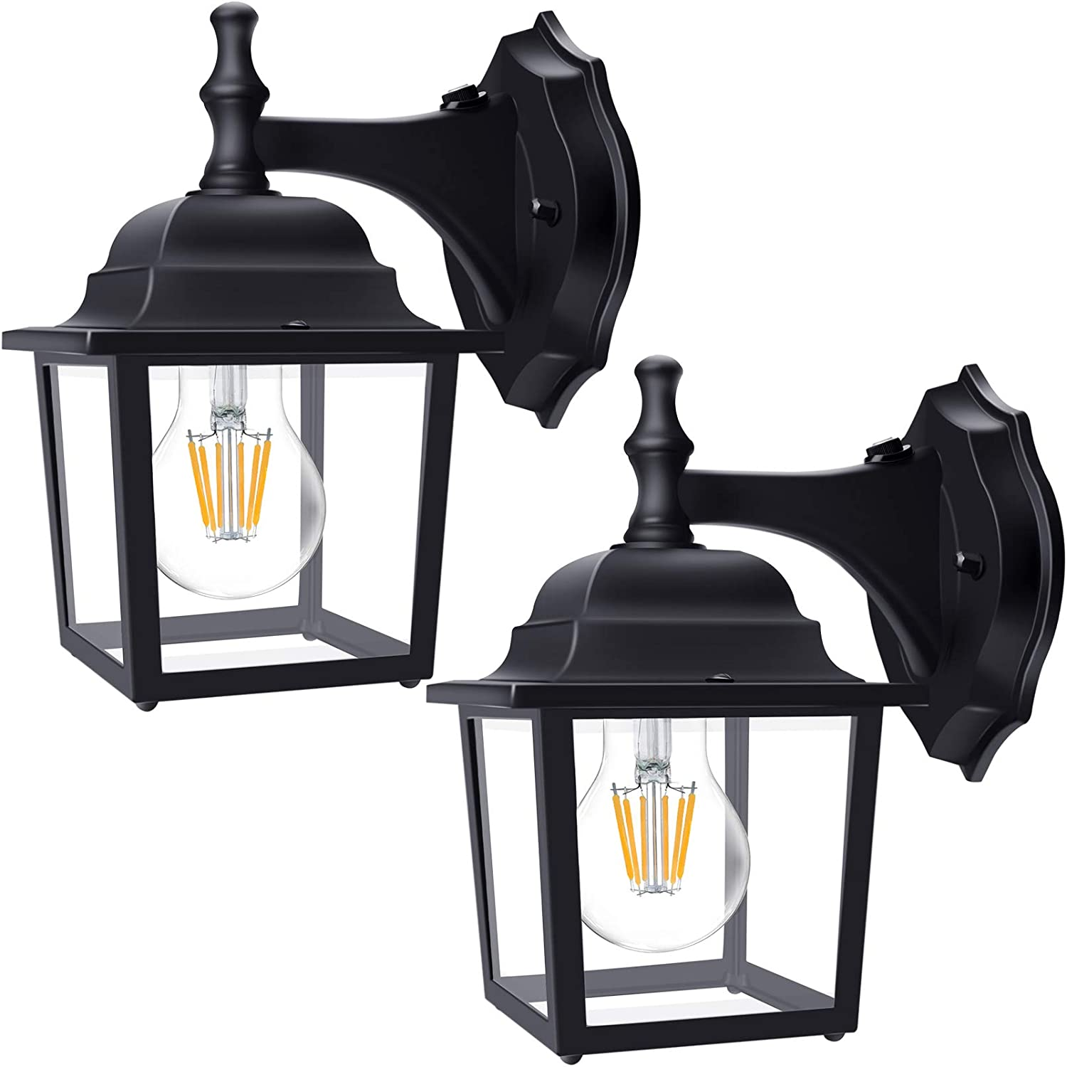 2-Pack Dusk to Dawn Sensor Outdoor Wall Lights Mount, Lamomo Wall Sconce Porch Light Fixture with E26 Led Light Bulb, UL Listed Anti-Rust Waterproof Black Wall Mount Lamp for Garage,Court-Yard