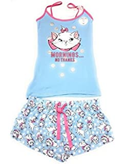 Ladies Girls Disney Aristocat Marie Womens Cotton Cami Vest Top & Shorts 2 Piece Set (