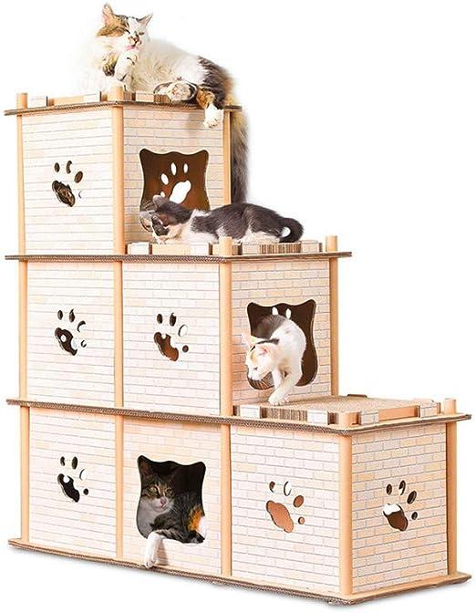 DAYUMAOJIN Creativa Escalera de polígono de Tres Capas Árbol de Gato Tablero de rascar del Gato