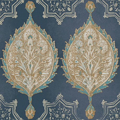 York Wallcoverings Patina Vie Henna Pal Ogee Removable Wallpaper, Blues