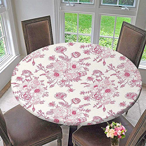 Mikihome Picnic Circle Table Cloths Romantic Rose Flower Bouquet Blooms in Soft Pastel Tones Botanical Rococo Design Light Pink for Family Dinners or Gatherings 50