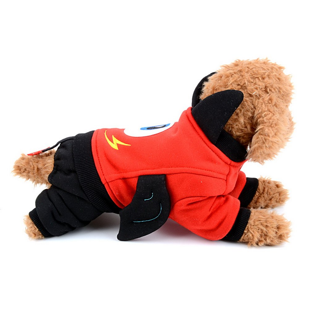 ZUNEA Small Dog Jumpsuit Fleece Lined Cartoon Devil Pet Halloween Costume Puppy Jacket Sweatshirt Cat Clothes Doggie Apparel Doggy Outfits Red M