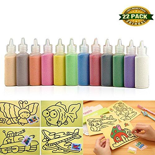 Sand Art kit, Colored Sand Art Kit Art Sand Scenic Sand wiht 10 Sheets Sand Art Painting Cards Set Children Art Toy, 12 color (0.92 LB)