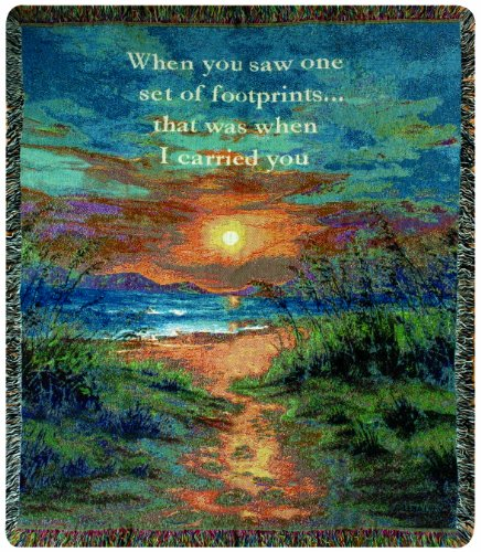 Manual Inspirational Collection 50 x 60-Inch Tapestry Throw with Verse, I Carried - Sunset In Stores Mall
