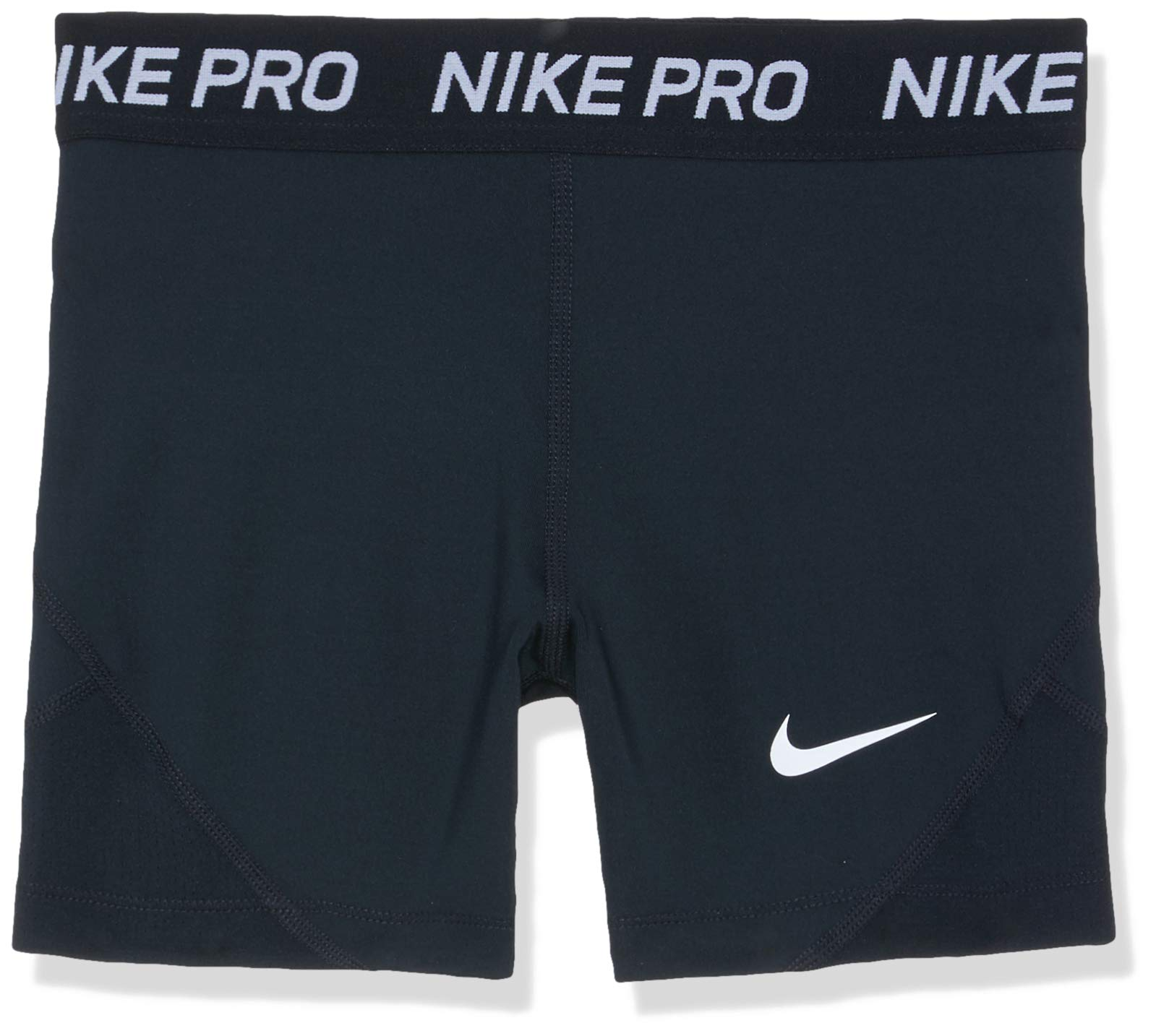 Nike Girl's Pro Boy Shorts (Black/White, Medium) by Nike