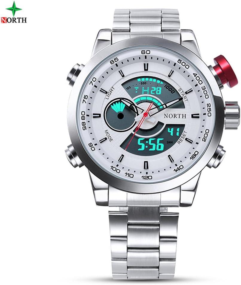 Reloj Digital de Hombres Reloj Analógico de Cuarzo con Pantalla Doble y Correa de Acero Inoxidable