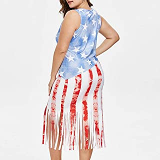 ANJUNIE Fashion Women Plus Size American Sleeveless Flag Stripes Tassel Hem Vest Bodycon Dress(Red,XXL)