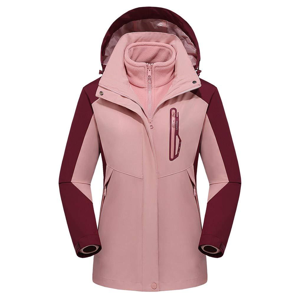 Pandaie Women 3 in 1 Jacket Hooded Detachable Warm Liner Waterproof Windproof Winter Outdoor Ski Windbreaker Raincoat Pink by Pandaie