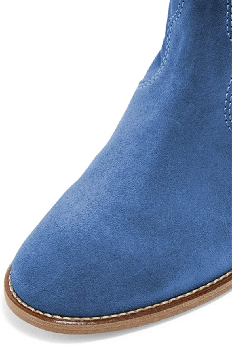 YDN Women Low Heel Ankle Boots Round Toe Boots Pull on Stacked Dress Shoes
