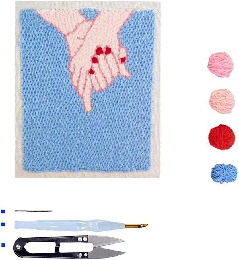Star Sky Beginner Rug-Punch Yarn Hooking Knitting Set with Embroidery Pen and Wood Frame Stosts Punch Needle Embroidery Kit