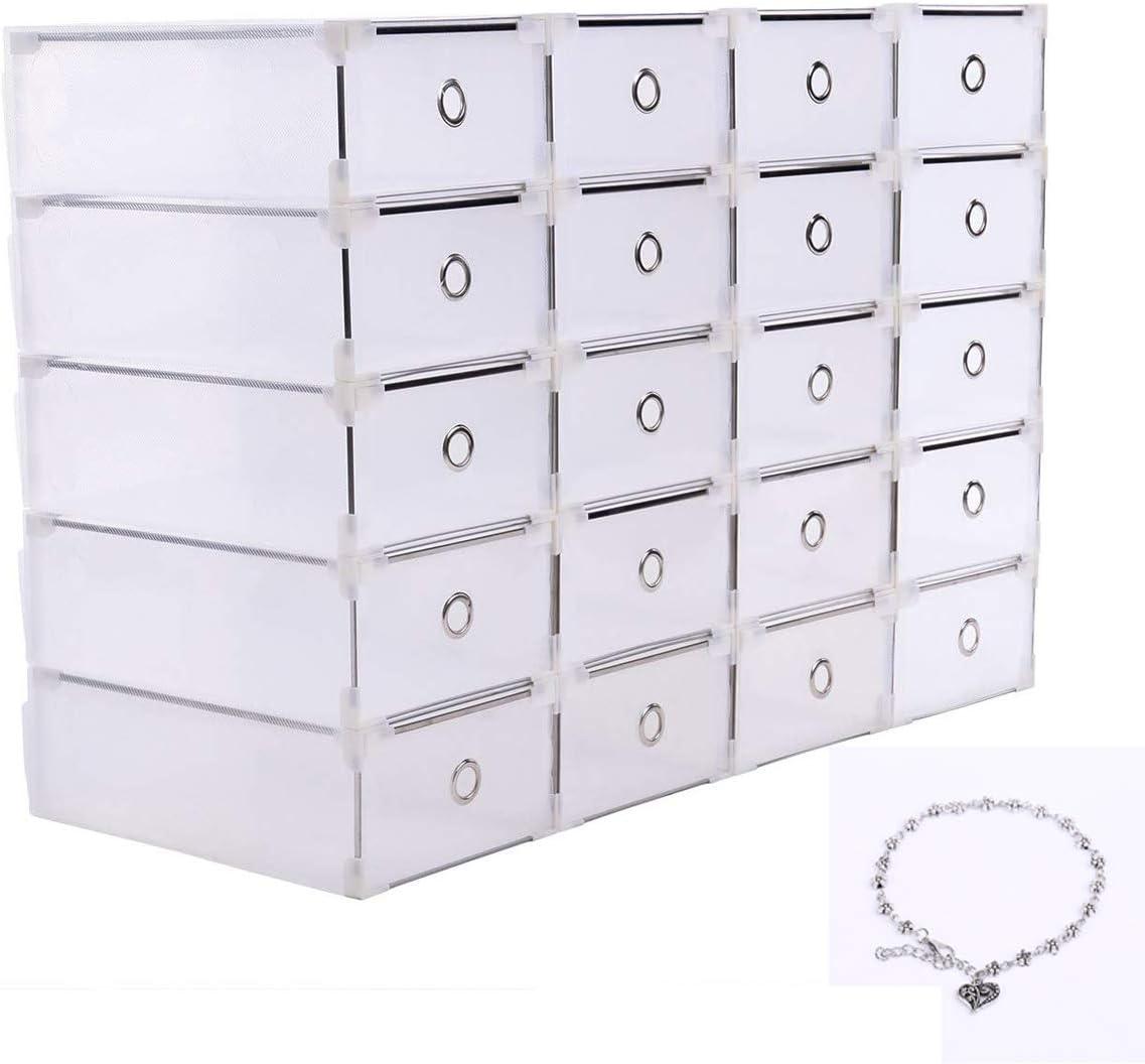 Yonntech 20x Cajas de Zapatos Plegables de Plástico Uuhome Cajas Almacenaje Plegable de plástico Cajón Organizador Transparente envase de la Caja para Zapatos Apilable Plegable Contenedor
