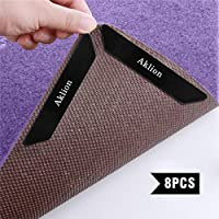Evedy Rug Grippers Non Slip Rug Pad, 8 PCS Removable and Reusable Carpet Gripper Pad Keeps Rugs in Place and Corners Flat, Double Sided Tape Ideal Rug Stopper Work for Indoor, Outdoor Carpet-Washable