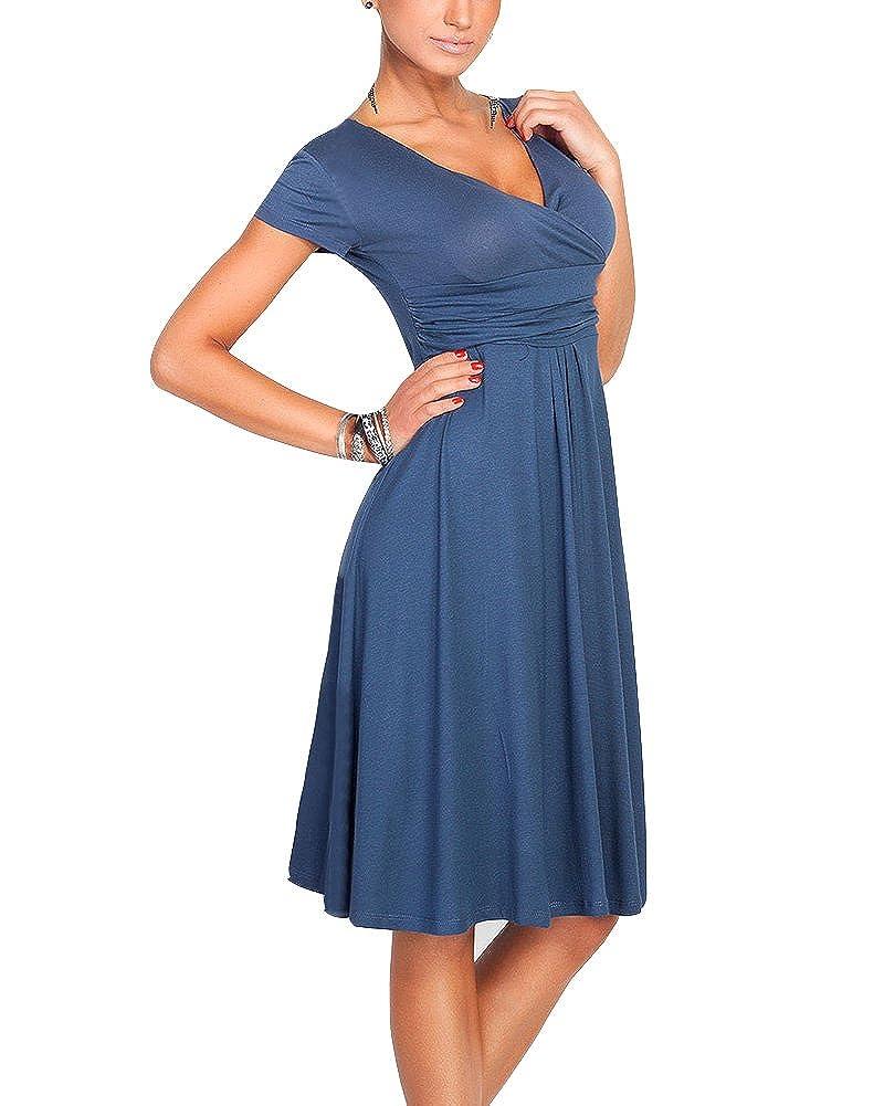 Damen Elegante A-Line V-Ausschnitt Kurzarm Sommerkleid Knielang Vintage Casual Kleider Swing Kleider