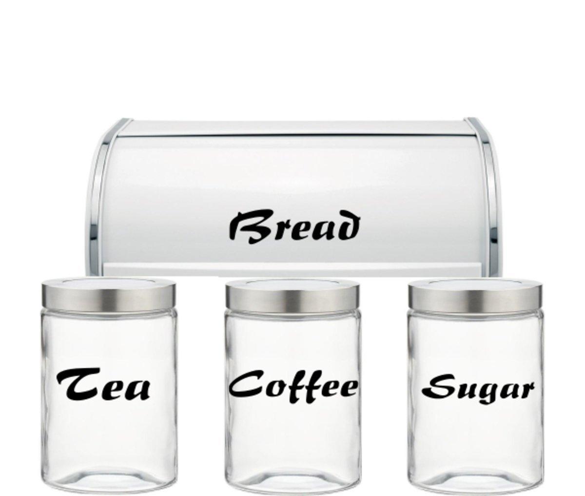 Tea, Coffee, Sugar, Bread - Jar Vinyl Decals Stickers Kitchen - Set of 4 Decals - (JARS & BREAD BIN NOT INCLUDED!!) CCG EXPSFD012604